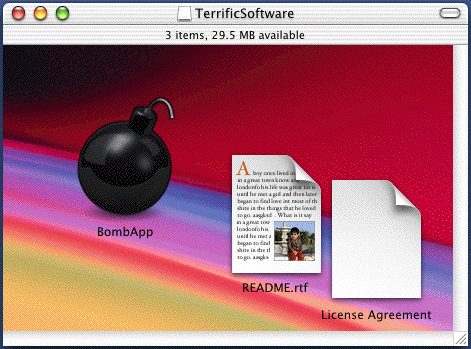 Disk Image contents shown in Icon View